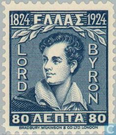 Lord Byron, stamp, Greece, where he is still celebrated as a national hero. Lord Byron, Postage Stamp Design, Postage Stamps, Byronic Hero, German Stamps, Rare Stamps, First Day Covers, Fauna, Mail Art