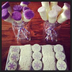 Snowflake theme choc covered Oreos and marshmallow pops in lavender 16th Birthday, Birthday Parties, Marshmallow Pops, Oreos, Sweet 16, Babyshower, Snowflakes, Lavender, Holiday