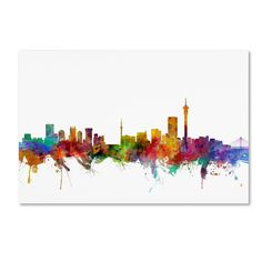Trademark Fine Art Johannesburg South Africa Skyline Canvas Art by Michael Tompsett, Size: 12 x Multicolor Wall Canvas, Canvas Art, Canvas Size, Big Canvas, Johannesburg Skyline, Gloss Matte, Flower Wall Decals, Watercolor Artwork, Painting Prints