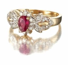 Ruby Diamond Bow Ring in 14k Gold