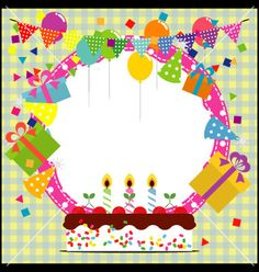 Birthday+frame+with+ballooncake+and+party+hat+vector+940640+-+by+laias on VectorStock®
