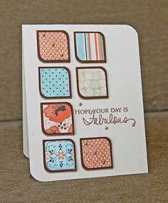 round opposite corners of a square for shape. this card idea is also a good way to use paper scraps.
