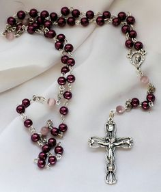 Purple and Pink Pearl Rosary by AllToolsPrayerful on Etsy.   Shop for 1st Communion and Confirmation Rosaries for young and adult. Custom requests also accepted.    Visit AllToolsPrayerful for many Christian products.