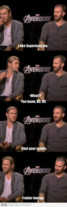 "Haha! No Chris, it's not okay that you like Superman! ;P ""What?"" haha Chris H. :)   ... Traitor tongue* :)"