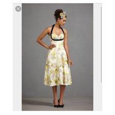 Anthropologie Hitherto Yellow Floral Dress Size 6