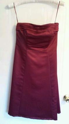 BHS Bridesmaid StraplesDress Merlot Deep Red Burgundy Prom Wedding size 14