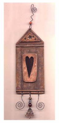 """""""Sacred Love"""" Original, hand painted polymer clay hanging"""