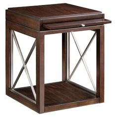 Showcasing a rosewood top and cherry veneers, this end table boasts a pull-out shelf and satin nickel x-shaped grilles on the base.