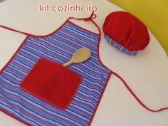 O Kit cozinheiro vem com avental, chapéu de cozinheiro e colher de pau. Diversão garantida para as crianças!!! Disponivel em diversas cores e modelos. Presente encantador e original, também pode ser utilizado com lembrancinha de festas. *****descontos especiais acima de 5 unidades***** R$36,00