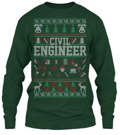Civil Engineer Christmas Long Sleeve Tee Forest Green Long Sleeve T-Shirt Front