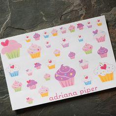 Cupcake Stickers 32 ct for Erin Condren Life Planner, Plum Paper Planner, Filofax, Kikki K, Calendar or Scrapbook by adrianapiper on Etsy