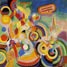 Titel: Hommage aan Bleriot Gemaakt door: Robert Delaunay Info: Robert Delaunay: In 1912 wijdde Delaunay wijdde zich helemaal aan abstractie . Dynamische vormen en kleuren werden er gebruikt. De cirkelvorm komt in al zijn werk terug. In 1937 schilderde Robert Delaunay een 25m2 schilderij , met behulp van anderen, voor de Parijse wereldtentoonstelling. Datum: 1914 Stroming: Kubisme Materiaal: Oliever op doek Museum: Kunstmuseum, Basel