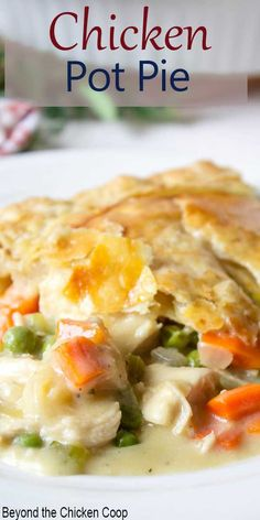 Homemade chicken pot pie with a puff pastry crust. This pot pie is pure comfort on a cold winter's day. You can make this pie ahead of time and bake before dinnertime. Homemade Chicken Pot Pie topped with a puff pastry crust. Chicken Pot Pie Casserole, Best Chicken Pot Pie, Rice Casserole, Chicken Rice, Crack Chicken, Chicken Soup, Chicken Potpie, Hamburger Casserole, Chicken Cordon