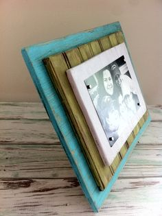 5 x 7 Distressed Handmade Magnetic Picture Frame Shabby Chic, Cottage, Beach House, Home Decor - Bahamas Blue, Lime Green & White  on Etsy, $45.00