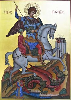 Saint George Slaying the Dragon hand-painted orthodox icon by Georgi Chimev Religious Icons, Religious Art, Saint Tattoo, Dragon Icon, Saint George And The Dragon, Paint Icon, Religious Paintings, Christian Religions, Byzantine Icons