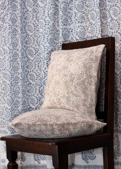 Printed burlap cushion cover and hand block printed curtain in indigo and grey
