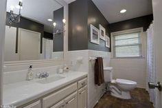 Traditional Full Bathroom with Raised panel, Undermount Sink, Drop-In Bathtub, High ceiling, Carpet, tiled wall showerbath