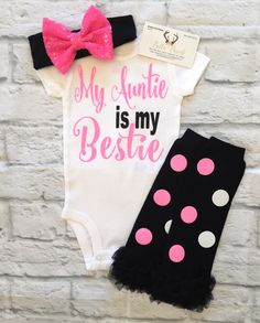 A personal favorite from my Etsy shop https://www.etsy.com/listing/502597550/baby-girl-clothes-my-auntie-is-my-bestie