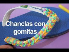 Chanclas con pulsera de gomitas o ligas. Flip flops rainbow Loom - YouTube