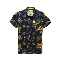 Superdry Slimline Washbasket Hawaiian Shirt ($50) ❤ liked on Polyvore featuring men's fashion, men's clothing, men's shirts, men's casual shirts, men, tops, shirts, mens shirts, navy and mens slim fit casual shirts