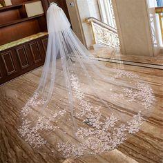 Dream Wedding Dresses, Bridal Dresses, Wedding Gowns, Long Wedding Veils, Vail Wedding, Wedding Viel, Wedding Cakes, Long Lace Veils, Wedding Rings