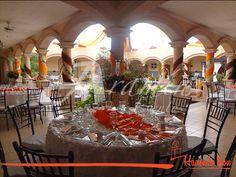 Montaje en Ex Hacienda El Bienestar en colores Naranja & Chocolate para la boda de #GabrielayEduardo