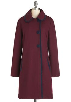 City Light the Way Coat. The sprawling cityscape surrounds you as you amble down the sidewalk in this long burgundy coat by Pink Martini! #gold #prom #modcloth