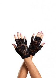 Перчатки - PAPAYA JAM   Gloves Black flower Fingerless