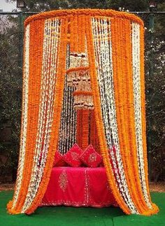 Magic with marigold – 15 Budget ideas to use the Genda creatively for your wedding decor! 🌻🌻 - Witty Vows Best Picture For barn wedding decorations For Your Taste You are looking for something, and it Desi Wedding Decor, Wedding Stage Decorations, Wedding Mandap, Wedding Venues, House Decorations, Wedding Ideas, Trendy Wedding, Wedding Backdrops, Wedding Hacks