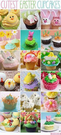 Πανέμορφα  και πεντανόστιμα cup cakes που μπορείτε να τα διακοσμήσετε με πασχαλινές ιδέες. Δείτε ιδέες και κλέψτε τις εντυπώσεις!!  Υλικά για τα cupcakes: -250 γρ αλεύρι που φουσκώνει μόνο του -250 γρ ζάχαρη -250 γρ βούτυρο -200 γρ κουβερτούρα – 4 αυγά -2 κ.σ. κακάο -Λίγο αλάτι Εκτέλεση: -Κοσκινίζεις το αλεύρι, το κακάο …