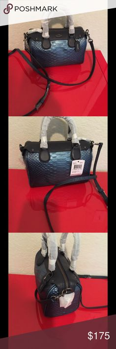 NWT Coach Bennett small F36657 Metallic Blue  With shoulder strap  Brand new  $350 Coach Bags Satchels