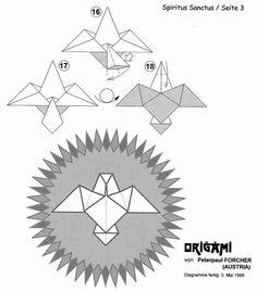 Essa é a mandalinha do espirito santo em origami, fica legal fazer várias para pendurar na árvore de natal, na porta de entrada ou presentea...