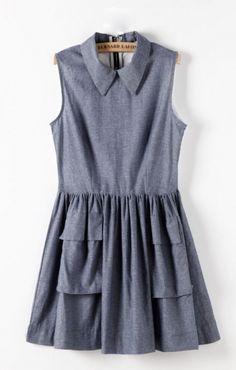 So Cute! Sweet Summer Fashion! Denim Blue Two Pockets Pleating Hem Sleeveless Dress #Denim_Blue #Spring #Summer  #Fashion