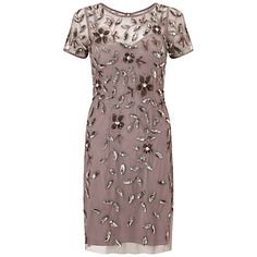 Adrianna Papell Short Sleeve Beaded Cocktail Dress, Stone Pink