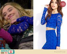 Maya's blue lace long sleeve top on Girl Meets World.  Outfit Details: http://wornontv.net/35755/ #GirlMeetsWorld