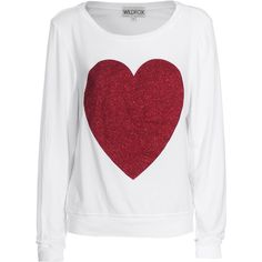 Wildfox Red Sparkle Heart Clean White Sweater With Glitter Heart ($145) ❤ liked on Polyvore featuring tops, sweaters, shirts, blusas, women, heart shirt, white crew neck sweater, red white shirt, crew-neck sweaters and oversized white shirt