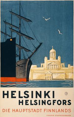 Helsinki Travel Poster. Helsinki, Finland. Helsingfors, die Hauptstadt Finnlands. Circa 1930 vintage Finnish travel poster.