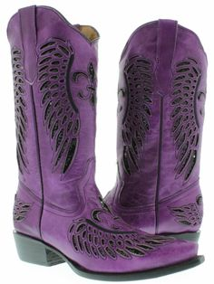 Cowgirl Style Boots Black Sequin Fleur De Lis & Angel Wing Inlay Snip Toe Purple GENUINE Leather Western Boot | Always About Horses