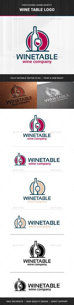 Wine Table  - Logo Design Template Vector #logotype Download it here: http://graphicriver.net/item/wine-table-logo-template/14498366?s_rank=1584?ref=nesto