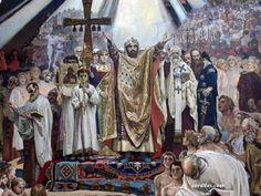 Photo of The Baptism of Kievans in Chersonesos, Painting by Viktor Vasnetsov