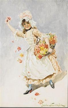 Jenny Nyström Flicka med korg  1915