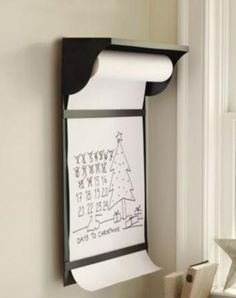 Message board using butcher paper; would be cute in a breakfast nook too. You know to share all those great sayings found on Pinterest.
