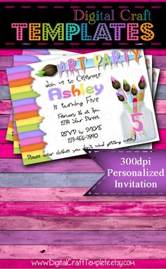 Personalized Printable Invitations   Art Party 2   Birthday Party   #270