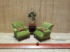 Green velvet chairs. 1:12 scale