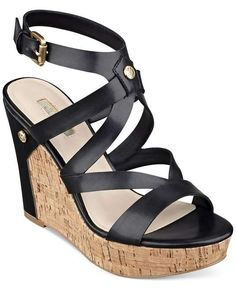 GUESS | Women's Harlee Cork Platform Wedge Sandals #guess #platform #wedge #sandals
