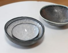 Set of 3 White Bowls and 1 Grey Bowl by Andrew Rouse | The Local Vault