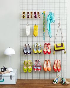 Shoe display ideas design ideas grid shoes display creative shoe rack ideas you must try shoe . Closet Hacks, Creative Shoes, Shoe Display, Display Ideas, Wire Shelving, Wall Organization, Shoe Storage, Storage Spaces, Getting Organized