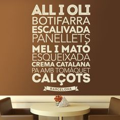 Kitchen Wall Sticker Gastronomy in Madrid. Wall Sticker typographical thematic gastronomy of Madrid and its surroundings Madrid Restaurants, Foodie Quotes, Barcelona, Kitchen Wall Decals, Kitchen Collection, Vinyl Lettering, No Cook Meals, Home Deco, Wall Stickers