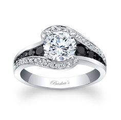 Modern Black Diamond Engagement Ring - 7898LBK