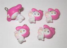 5pcs My Melody Charms Pendants Sanrio Lot Pink White Kawaii Japanese Bunny Rabbit HK 18mm